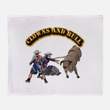 Clowns and Bull-2 with Text Throw Blanket