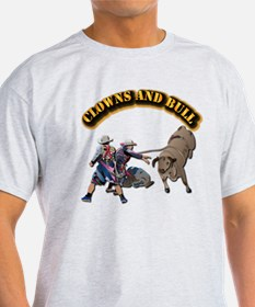 Clowns and Bull-2 with Text T-Shirt