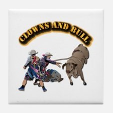Clowns and Bull-2 with Text Tile Coaster
