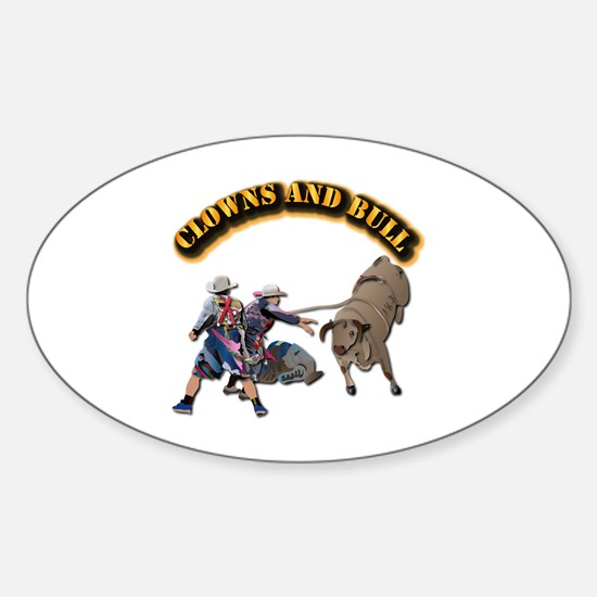 Clowns and Bull-2 with Text Sticker (Oval)
