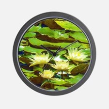 Yellow Water Lilies Wall Clock