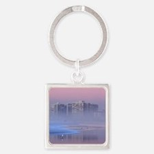 Foggy Beach Sunset Square Keychain