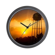 Water Tower Sunset Wall Clock