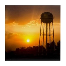Water Tower Sunset Tile Coaster