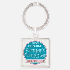 Funny Farmer girl Square Keychain