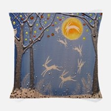 Dance of the moon hares Woven Throw Pillow