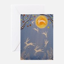 Dance of the moon hares Greeting Cards