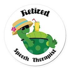 Retired Speech Therapist Turtle Round Car Magnet