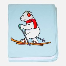 Polar Bear Skiing baby blanket