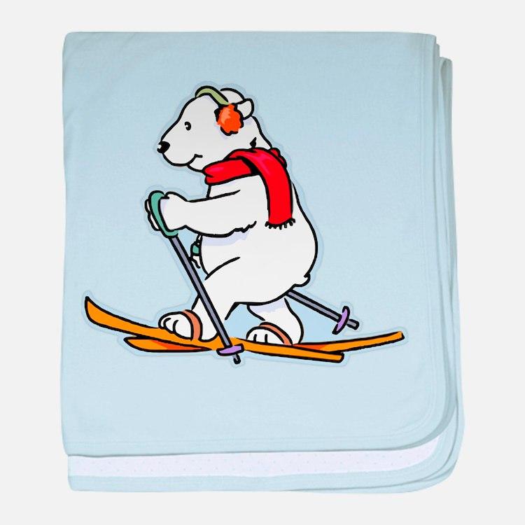 Polar Bear Skiing baby blanket