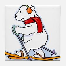 Polar Bear Skiing Tile Coaster