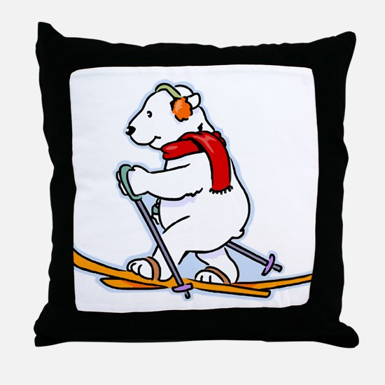Polar Bear Skiing Throw Pillow