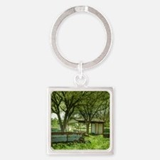 A Shady Spot in the Country Square Keychain