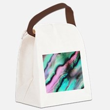Pink & Green Seashell Colors Canvas Lunch Bag