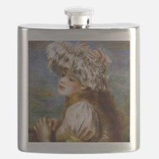 Renoir - Girl in a Lace Hat Flask