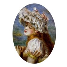 Renoir - Girl in a Lace Hat Oval Ornament