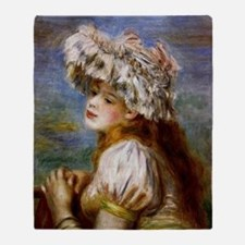 Renoir - Girl in a Lace Hat Throw Blanket