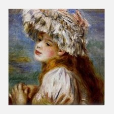 Renoir - Girl in a Lace Hat Tile Coaster