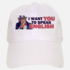 Uncle Sam says Speak English! Baseball Baseball Cap