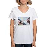 Creation / Fawn Pug Women's V-Neck T-Shirt