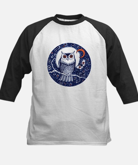 Blue Owl with Moon Baseball Jersey