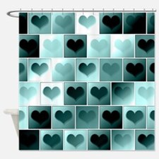 Monochrome hearts Shower Curtain