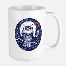 Blue Owl with Moon Mugs