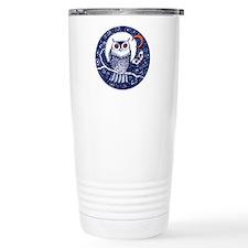 Blue Owl with Moon Travel Coffee Mug