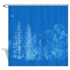 Blue Moonlight Trees with a Single Shower Curtain