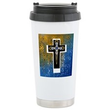 Layered Cross in Black, Blue, Gold, White Travel M