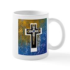 Layered Cross in Black, Blue, Gold, White Mugs