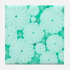 Dew Drop Flowers Tile Coaster