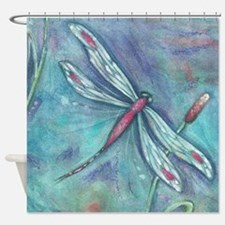 Aqua Dragonfly Shower Curtain