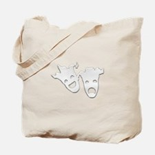 Silver Theater Masks of Comedy and Traged Tote Bag