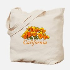 Stylized California Poppies with Text Tote Bag