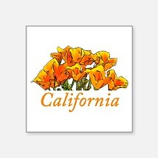 "Stylized California Poppies Square Sticker 3"" x 3"""