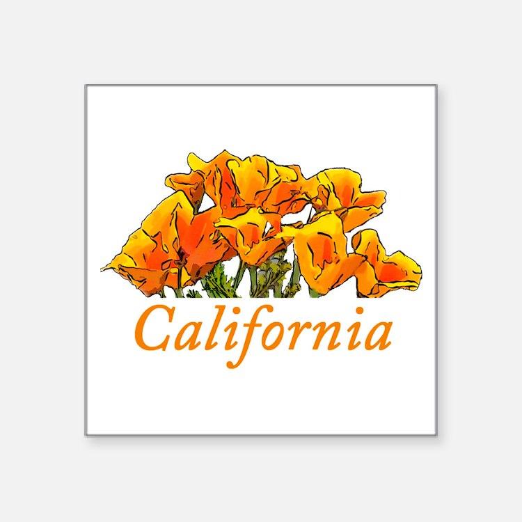 "Stylized California Poppies Square Sticker 3"" x 3"""