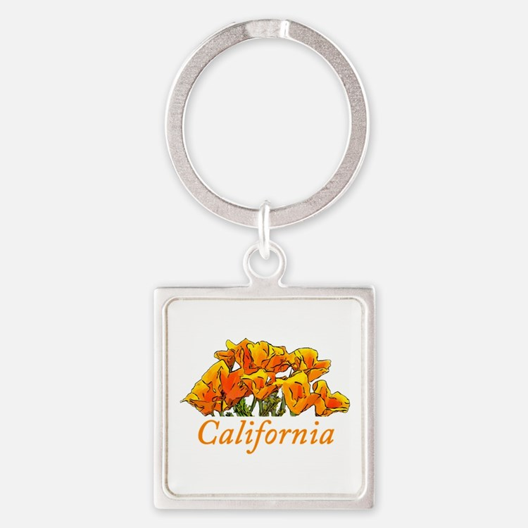 Stylized California Poppies with T Square Keychain