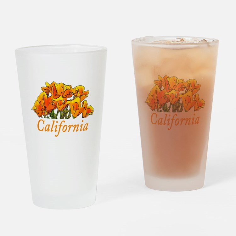 Stylized California Poppies with Te Drinking Glass