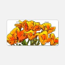 Stylized California Poppies Aluminum License Plate