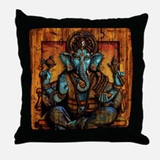 Blue Ganesha Throw Pillow
