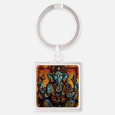 Blue Ganesha Square Keychain