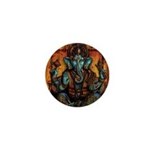 Blue Ganesha Mini Button