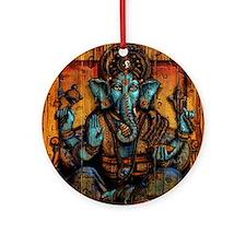 Blue Ganesha Round Ornament