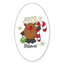 Believe Reindeer Oval Decal