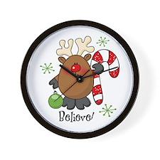 Believe Reindeer Wall Clock