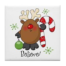Believe Reindeer Tile Coaster