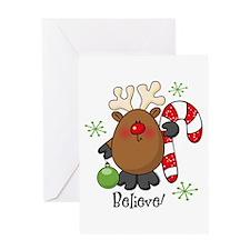Believe Reindeer Greeting Card
