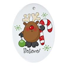 Believe Reindeer Oval Ornament