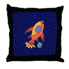 Blast Off Rocketship Throw Pillow
